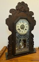 ANTIQUE GOTHIC ANSONIA CLOCK CO WOODEN WALL MATEL CLOCK WITH ALARM
