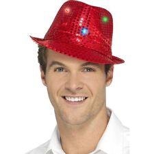 Women's Men's Red Light Up Sequin Trilby Fancy Dress Hat Hen Stag LGBT Fun
