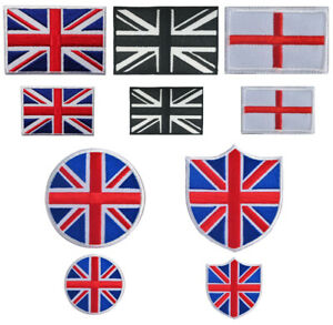 Union Jack and England Flag Iron On / Sew On Embroidered Patch Badge Transfer