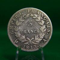 5 Francs Napoleon Bonaparte Empereur SILVER Coin 1813 A