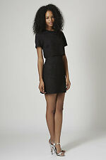 Topshop Scallop Lace Overlay Black Dress Size 6 - Brand New RRP £55