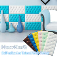 3D PE Foam Self-adhesive Tatami Wall Sticker Paper Panel Background Decal Decor