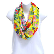 New Womens Fashion Scarves Soft Wrap Fall Vintage Floral Print Loop Scarf Yellow