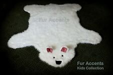 FUR ACCENTS Shaggy Teddy Bear Accent Rug Off White Faux Fur 5' x 5'