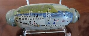 Folk Art Painting on Glass Atlantic City Boardwalk Pier Beach Coney Island