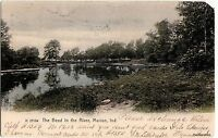 1907 MARION Ind Postcard Indiana BEND IN RIVER Scene