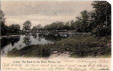 1907 MARION Ind Postcard Indiana BEND IN RIVER Scene