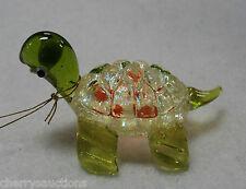 T GLASS FIGURINE turtle blown art glitter YELLOW ORANGE animal handmade ganz
