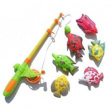 6X Children's Magnetic Fishing Toy Plastic Fish Indoor Baby Bath Rod Toys New