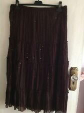 Pleated vintage Tiered Skirt, Dark Brown/ Sequin Detail, Size L by Ninety