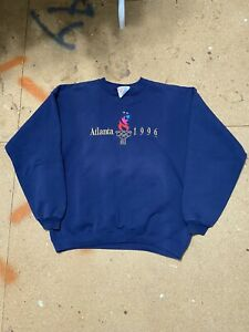 Vintage Atlanta 1996 Olympics Crewneck Sweatshirt L 90s Usa Hanes Heavyweight