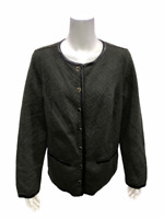 Isaac Mizrahi Women's Quilted Knit Jacket with Faux Leather Trim 1X Plus Size