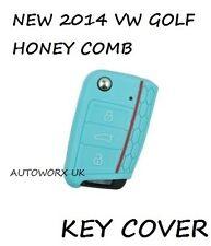VW Volkswagen Golf Mk7 nid d'abeille voiture clé flip cas couverture de protection cutanée Bleu L