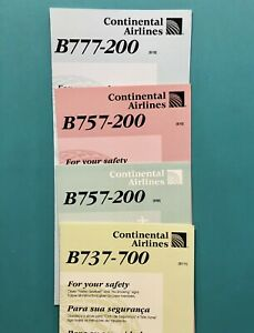 4 CONTINENTAL AIRLINES SAFETY CARDS SET