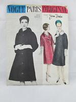 1962 VOGUE PARIS ORIGINAL Sewing Pattern #1117 by Jean Desses Misses Coat Sz 18