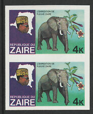 Zaire 3019 - 1979 River Exn ELEPHANT  4k  IMPERF PAIR unmounted
