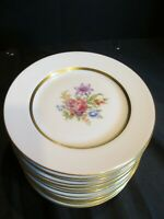 Royal Jackson Yolanda 13 Bread and Butter Plates Multifloral Center Gold Verge