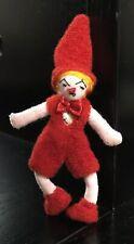 Xtra Rare Vintage Armature Wire & Cloth Felt Doll: Red Pixie/Elf/Dwarf/Gnome Boy