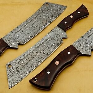 Damascus FULL TANG CHEF KITCHEN BUTCHER KNIFE WOOD HANDLE Chopper Meat Cleaver