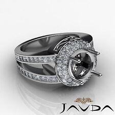 Diamond Engagement Ring 2 Row Halo Pave 1.35Ct 18k White Gold Round Semi Mount