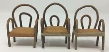 Dollhouse Miniature Artisan Lot Of 3 Bamboo Chairs Stamped Made in Japan