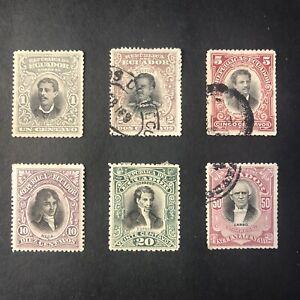 ECUADOR, SCOTT # 137-142(6), 1899 HISTORICAL FIGURES ISSUE USED