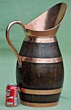 """Antique Large 21"""" Oak Staves, Copper Bands & Spout Water Pale Pitcher Jug"""
