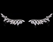 925 Sterling Silver Crystal Angel Wing Feather Cuff Crawler Climber Earrings A