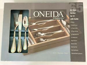 NIB ONEIDA GOLD BELMON Stainless Flatware 65 Pcs Set Service For 12 W/Caddy