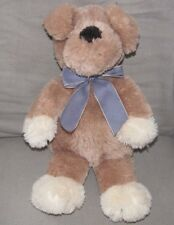 ANIMAL ADVENTURE 2005 STUFFED PLUSH PUPPY DOG TAN BROWN BLUE GINGHAM RIBBON BOW