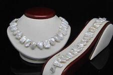 AAA Natural Shape White Biwa Pearl Necklace Bracelet Set (18'' 7.5'' Long)