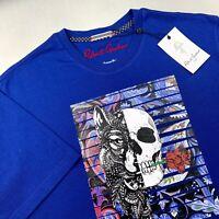 Robert Graham Wolf Skull Graphic T Shirt Crew Neck Blue Mens Size Medium $98