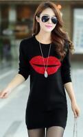 Women Autumn Plus Thick Bodycon  Dress Casual Long Sleeve Lips Print Short Skirt