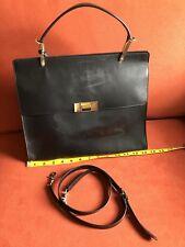 Auth. BALENCIAGA Le Dix Cartable M Satchel Bag Black Leather front FLAP In Large