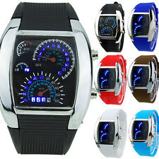 HOT SALE Fine RPM Turbo Blue Flash LED Mens Sports Car Meter Dial Watch Seraphic