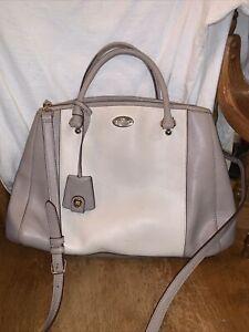 Coach Cream Gray Pebbled Leather Adjustable Crossbody Doctor Shoulder Bag