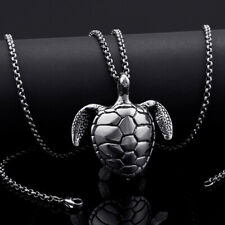 Best Quality Stainless Steel Biker tortoise Pendant Rolo chain Necklace 24''