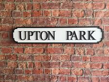 UPTON PARK Vintage Wood London Street Road Sign