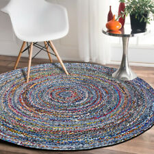 7 Feet Indian Braided Handmade Round Jute&Denim Rug Floor Decorative Carpet Rag