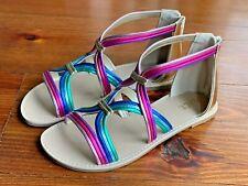 The Children's Place Metallic Rainbow Gladiator Sandals Girls Shoes 2 NEW