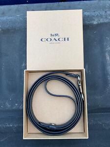 Coach Small Leather Pet Leash-black- dog leash -F26178