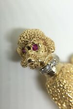 Poodle Brooch Pin 14k Gold with Rubies & Diamonds