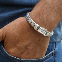 925 Solid Sterling Silver Bracelet Woven Men  Size 7.5  8 8.5 9 9.5 10 10.5 Gift