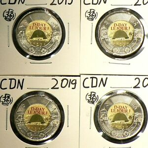 2019 Canada $2  D Day Color Lot of 6 Unc from Roll #5876
