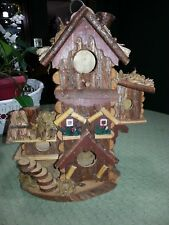 Log Cabin/Hut Style Tri-Level Wooden Bird House