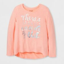 Cat & Jack Girls' Moxie Peach Shimmer Magic Cozy Pullover Shirt, Size XS 4/5