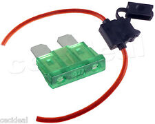 10 GAUGE INLINE ATC FUSE HOLDER + 30 AMP FUSE WITH COVER NEW CAR TRUCK INST