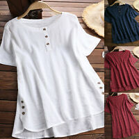 Plus Size Women Summer Casual Short Sleeve Loose Baggy Tops T-shirt Tunic Blouse