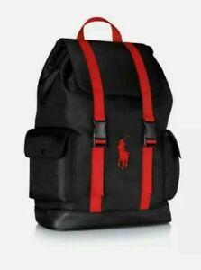 Genuine Polo Ralph Lauren Backpack Rucksack Travel Mens Red and Black Gym bag