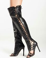 BNIB 7 BLACK LACE UP OPEN TOE SNAKE CROC  OVER THE KNEE OTK THIGH BOOTS